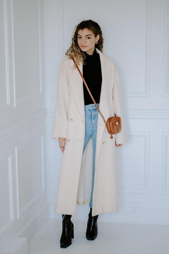 long cream winter coat thrift store haul