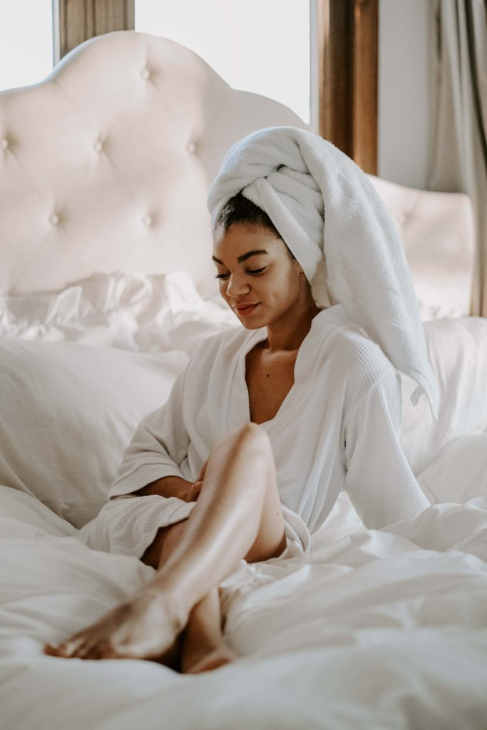 white robe lifestyle morning photoshoot