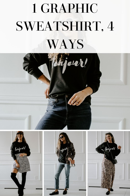 1 graphic sweatshirt 4 ways