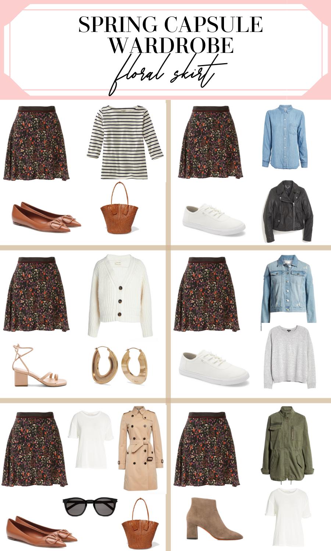 spring capsule wardrobe floral skirt