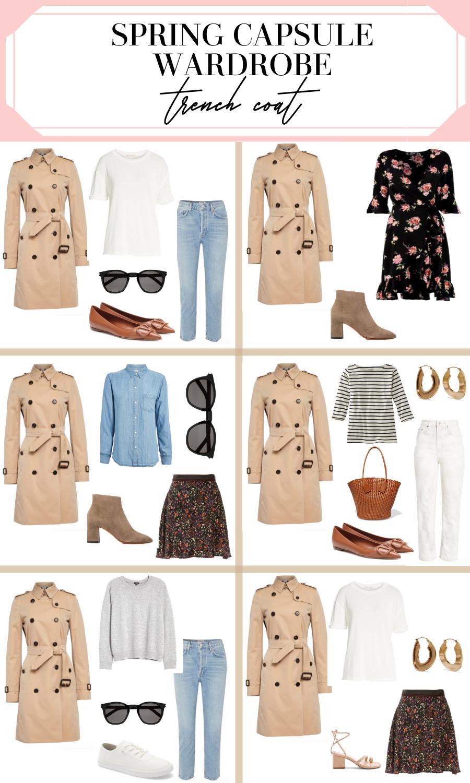 spring capsule wardrobe trench coat