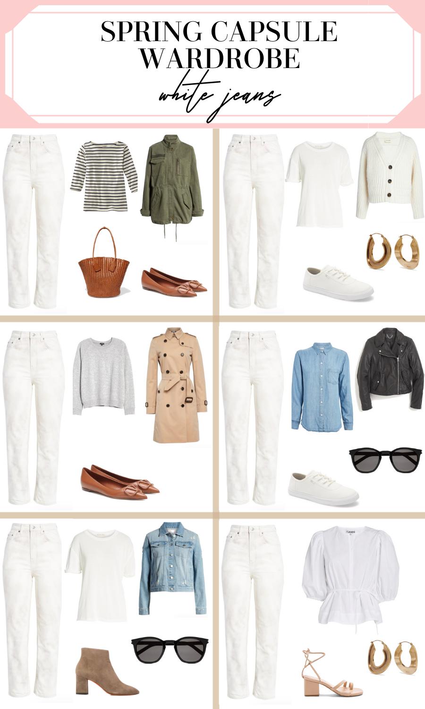 white jeans spring capsule wardrobe