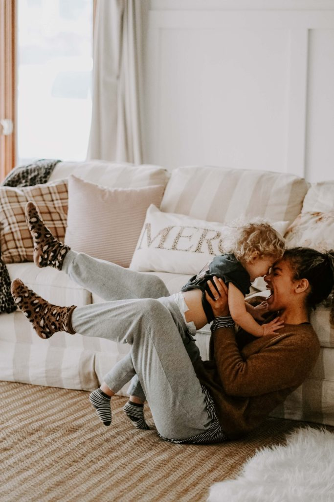 mother and son at home lifestyle