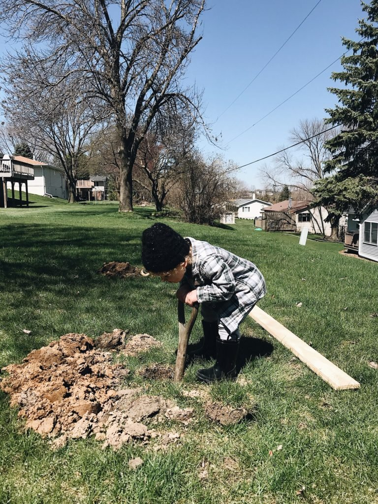digging holes for trellises
