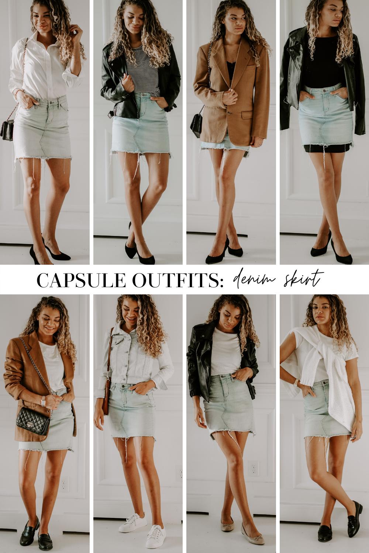capsule outfits denim skirt