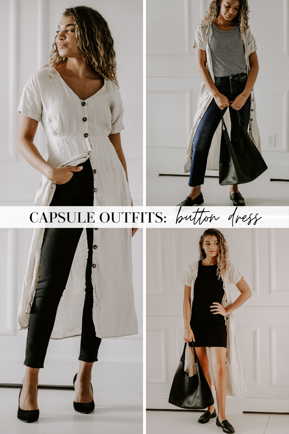 capsule outfits button shirt dress