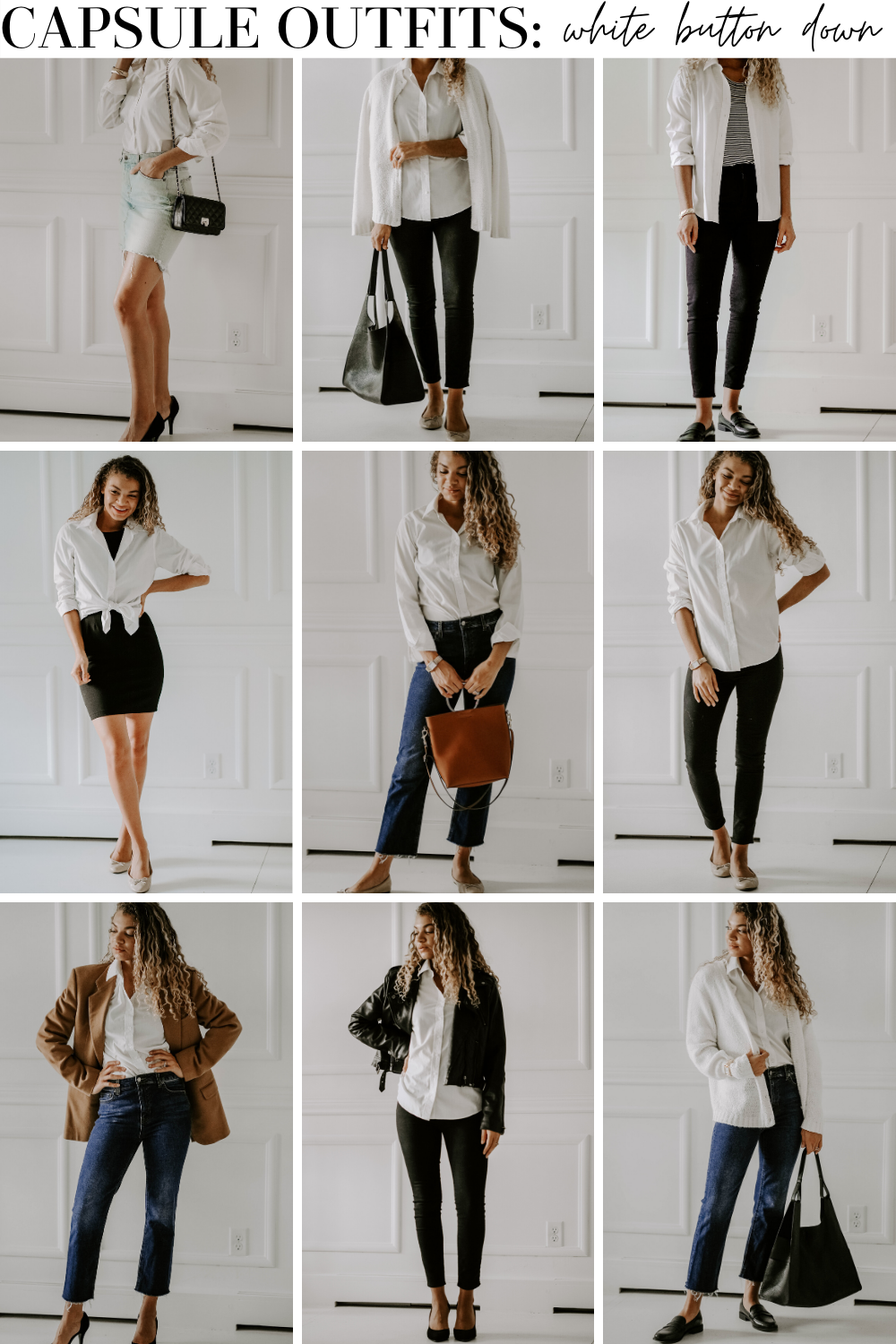 capsule outfits white button down