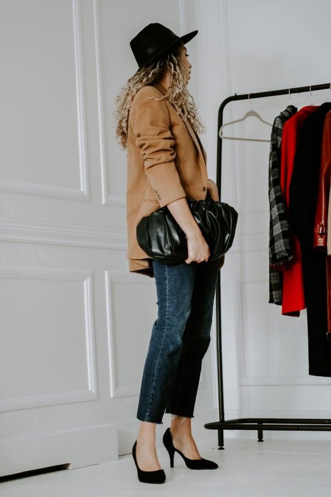 camel blazer outfit french fashion