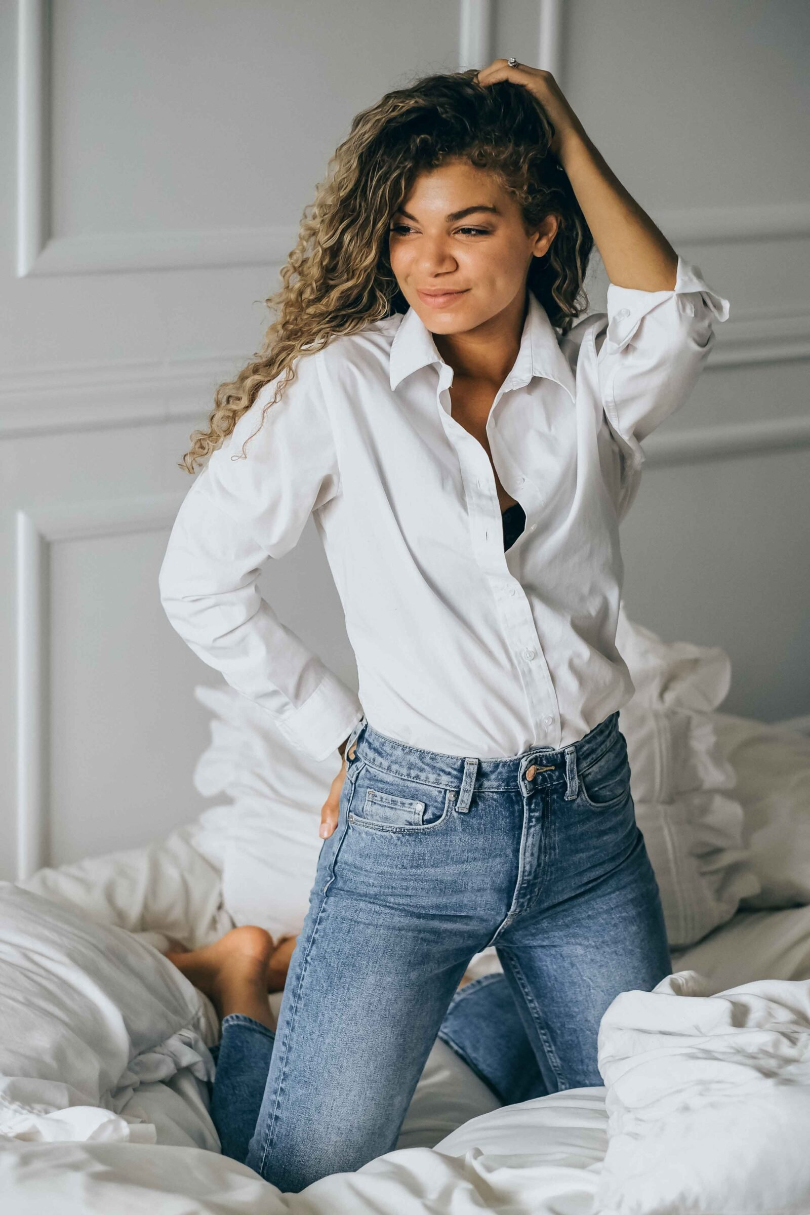 white button down and jeans outfit