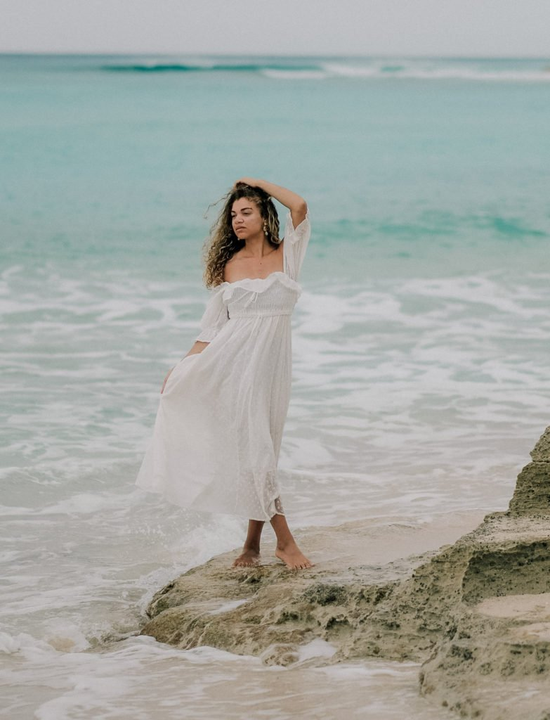 white dress tropical vacation outfit