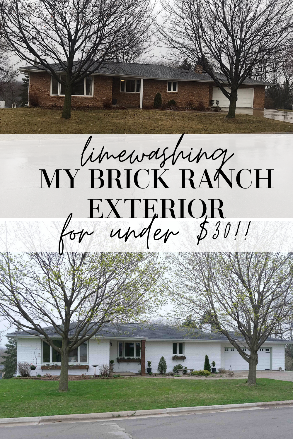 How I Limewashed My Brick Ranch Exterior For Under 30 My Chic Obsession