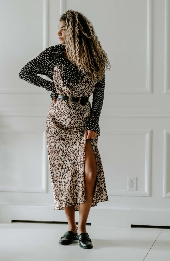 mixed prints slip dress outfit