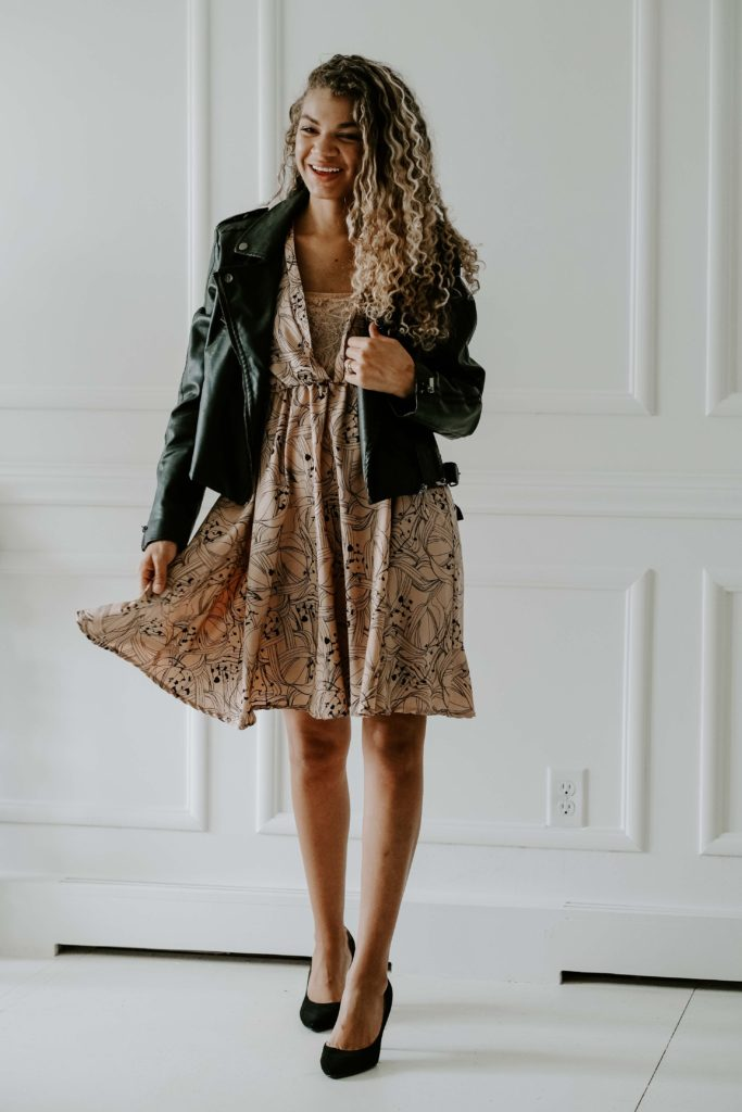 spring dress and motorcycle jacket