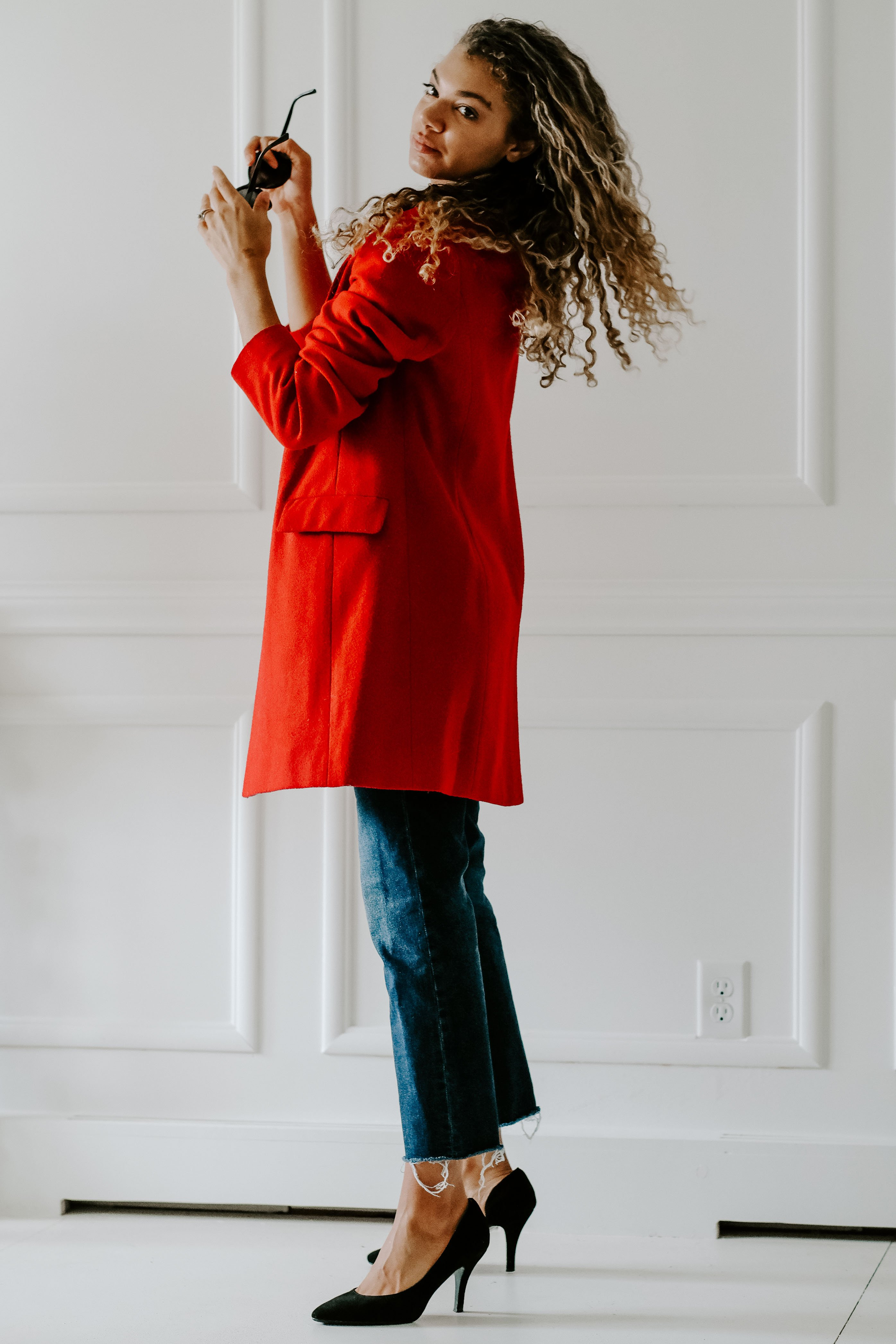 red blazer outfit