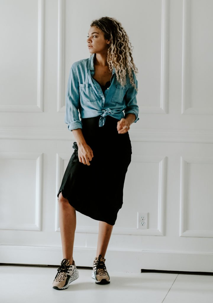 make old outfits feel new with this slip dress casual outfit