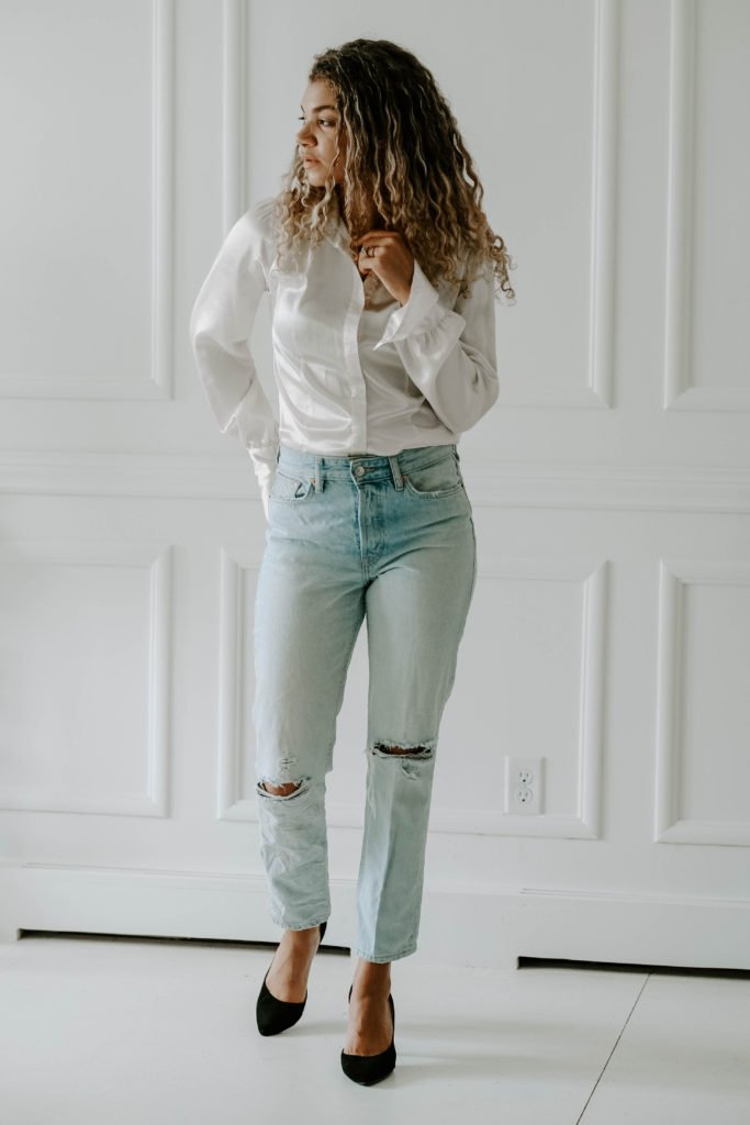how to create new outfits in your closet with this white silk button down top