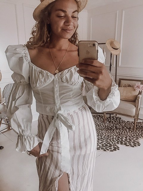 white peasant top summer outfit