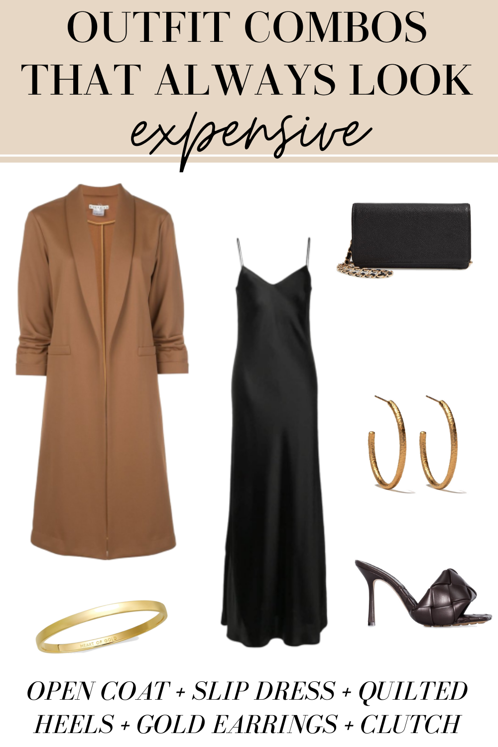 slip dress and long coat expensive outfits