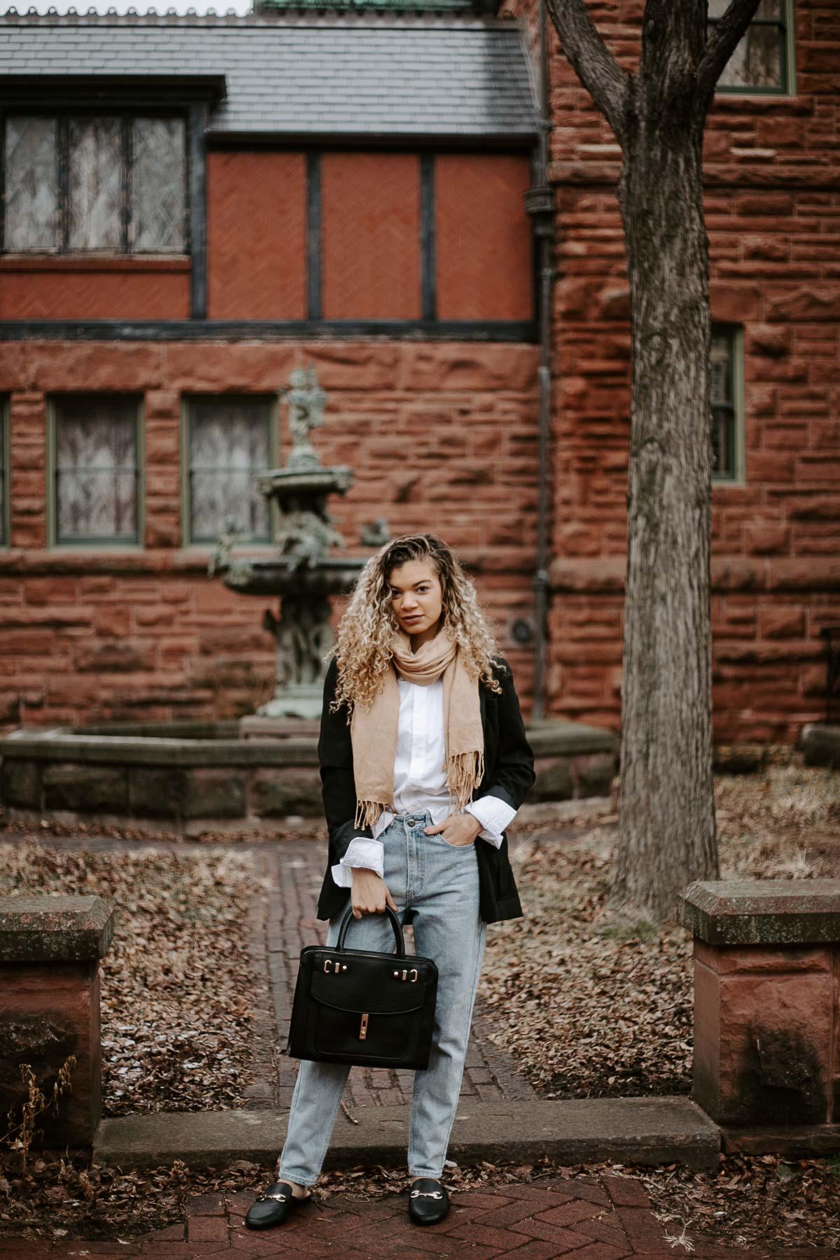 black blazer classic outfit