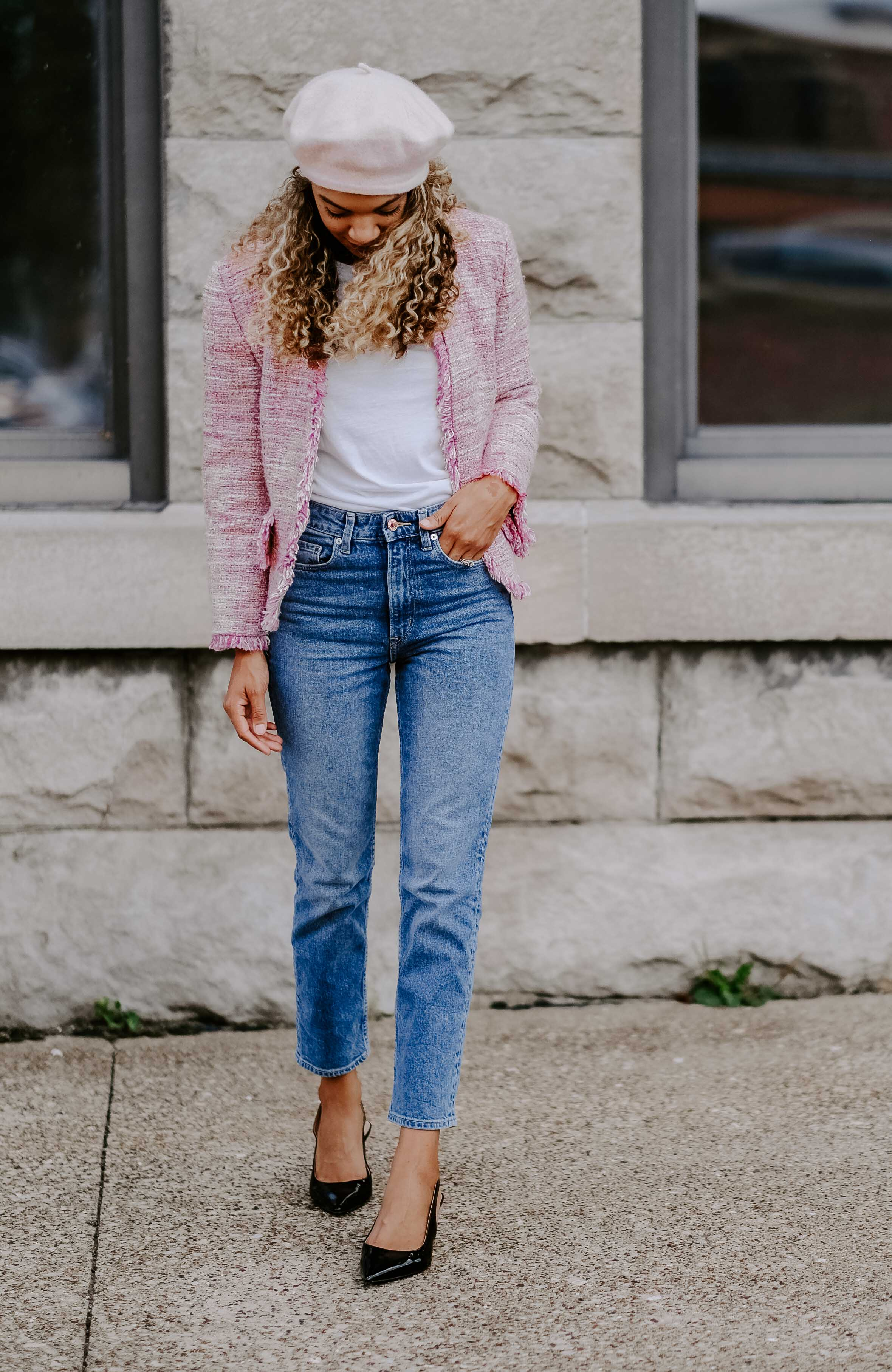 tweed blazer classic outfit