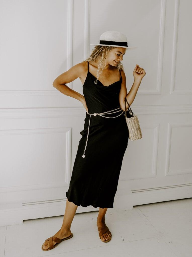 slip dress chain belt outfit