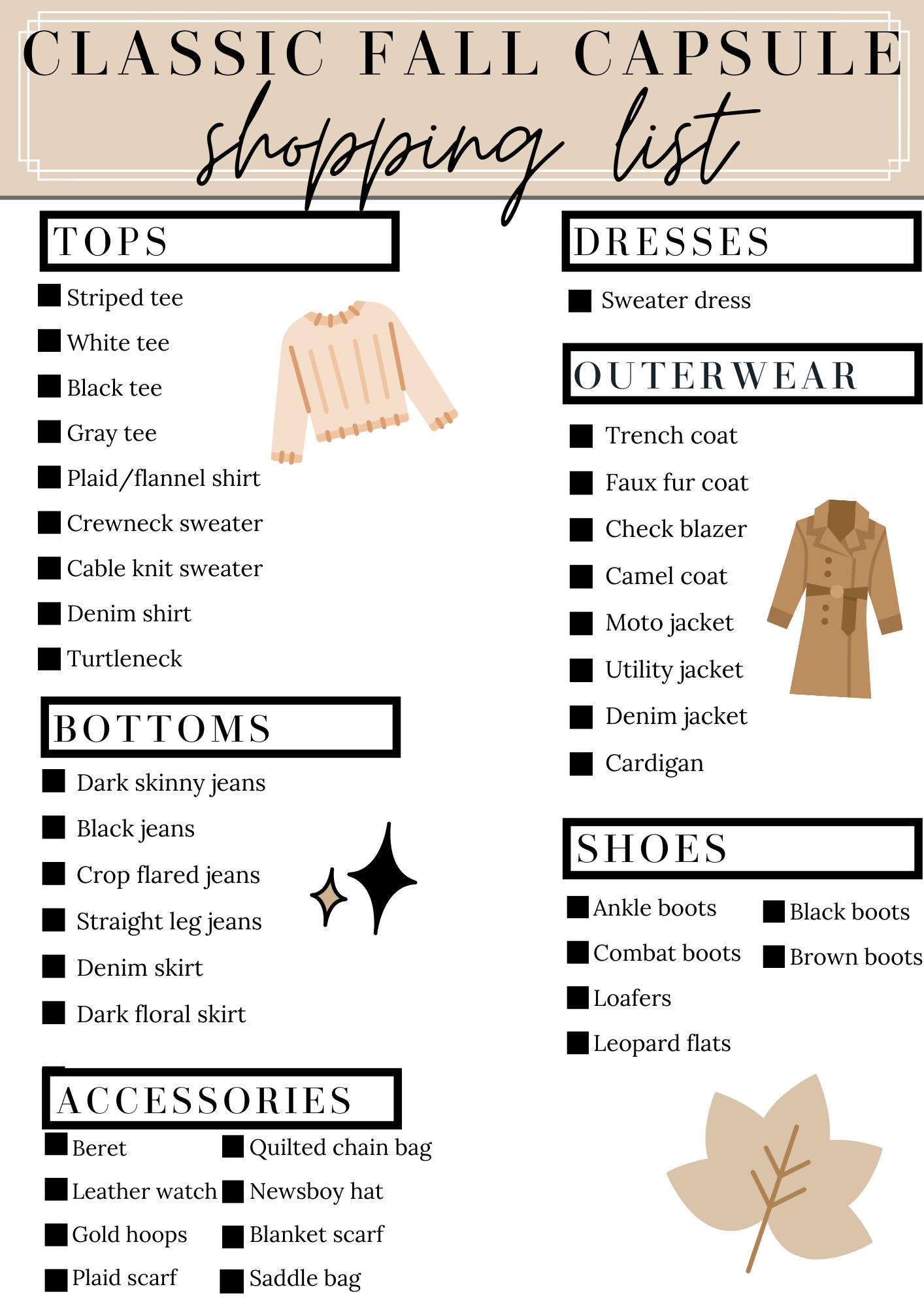 fall capsule wardrobe shopping list
