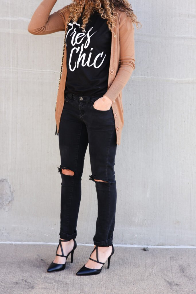 brown and black outfit