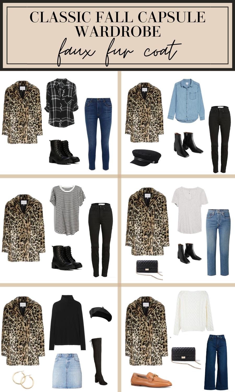 how to wear a faux fur coat fall capsule wardrobe