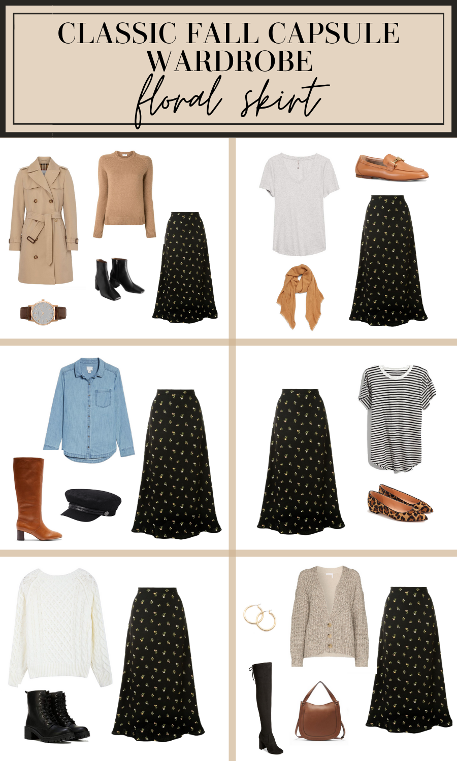floral skirt fall outfit ideas