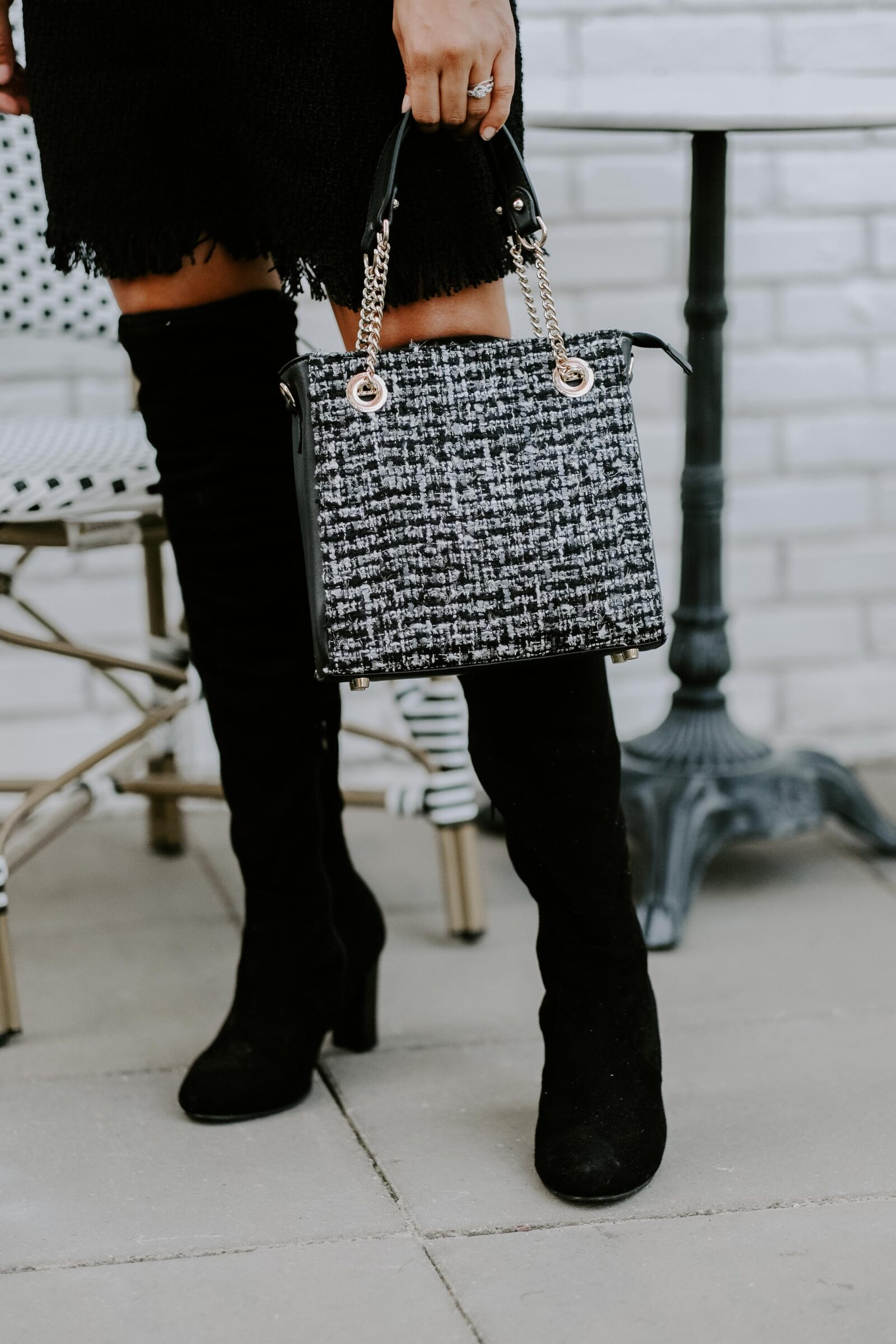 all black chic tweed outfit