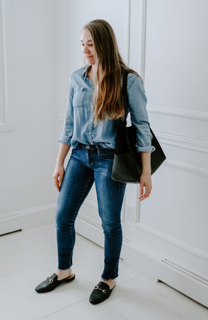 how to wear chambray shirt