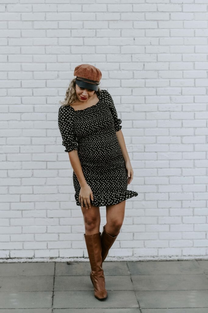 smocked dress fall maternity outfit