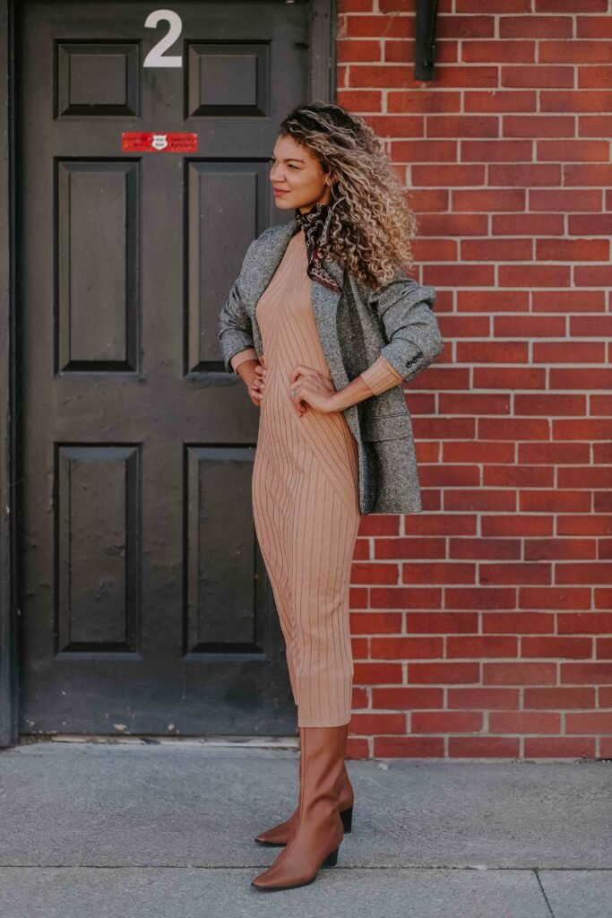 camel midi dress outfit