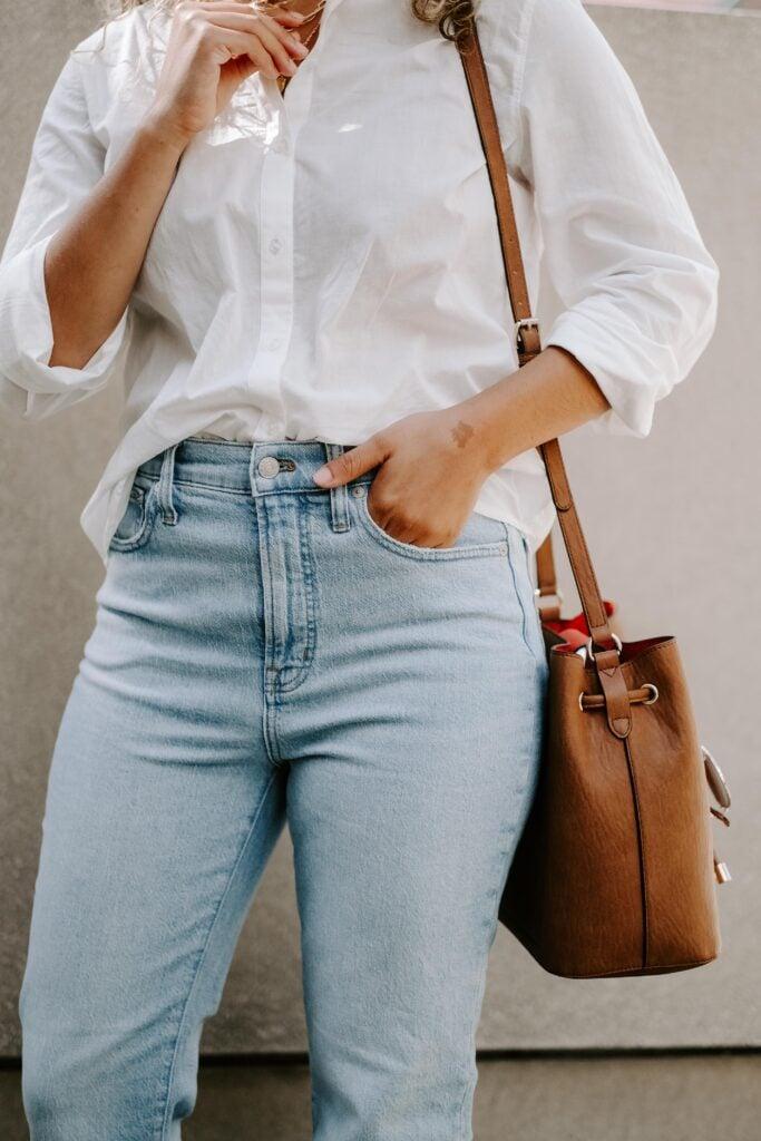 calvin klein bucket bag outfit