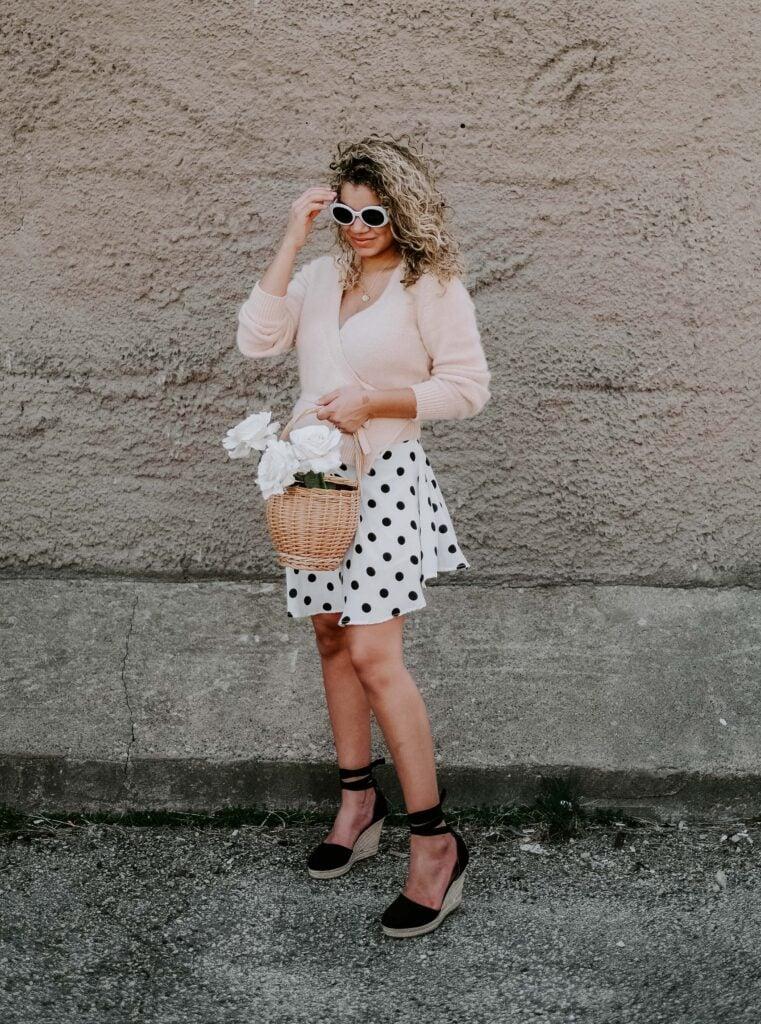 polka dot skirt outfit