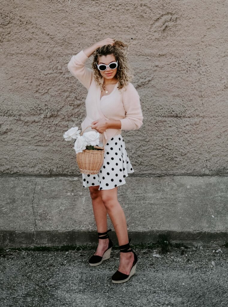 what to wear with a polka dot skirt