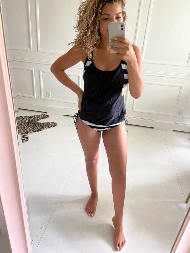 postpartum swimsuit try on