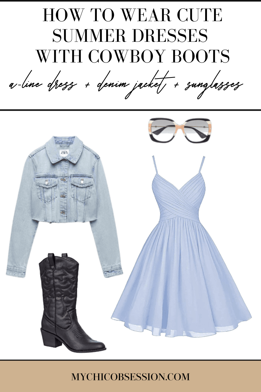 Light blue A-line dress, Zara denim jacket and oversized glasses