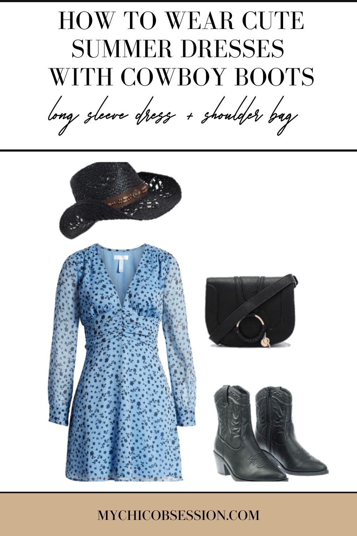 blue and black floral print long sleeve dress, black shoulder bag, black cowboy hat