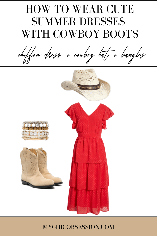 Red chiffon maxi dress, pearl bangles and white cowboy hat.