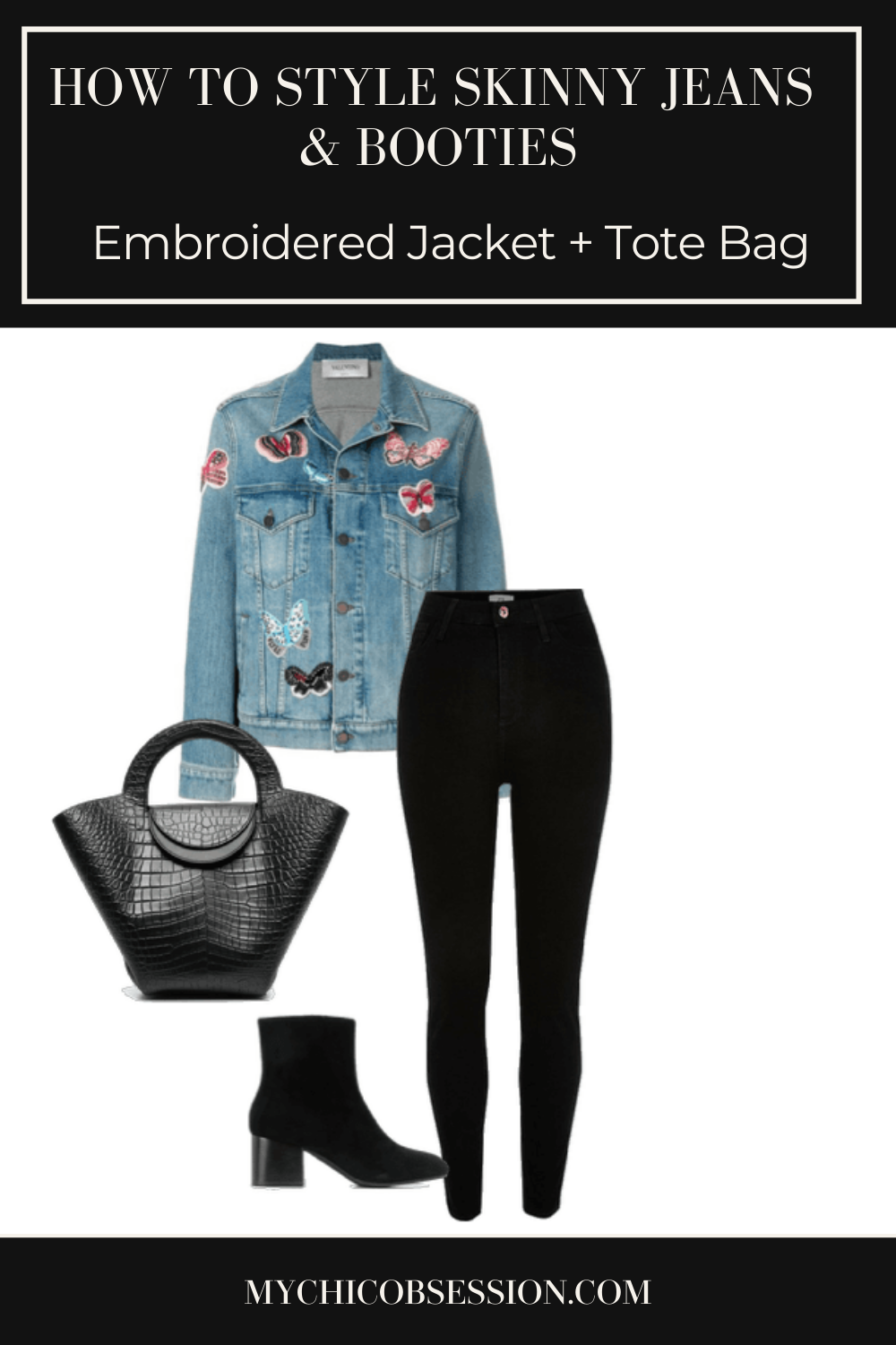 Black skinny jeans, black tote bag and ankle boots