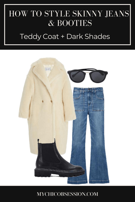 cream teddy coat, black chelsea boots and black sunglasses