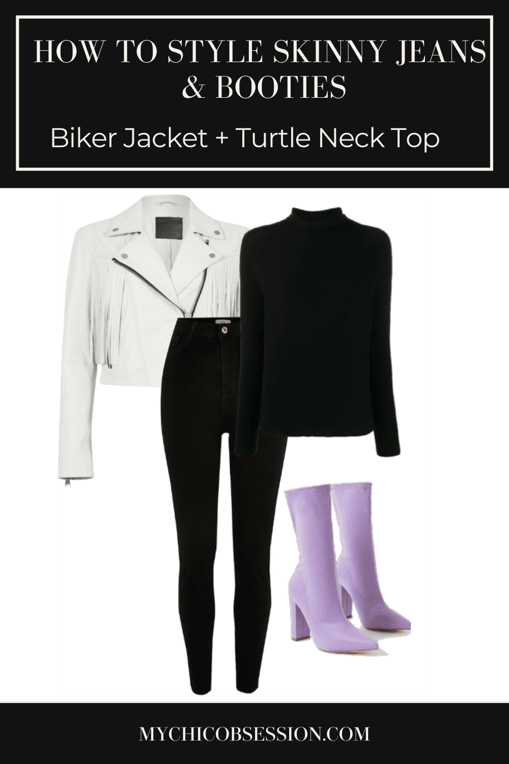 Black turtle neck, lilac ankle boots and white biker jacket