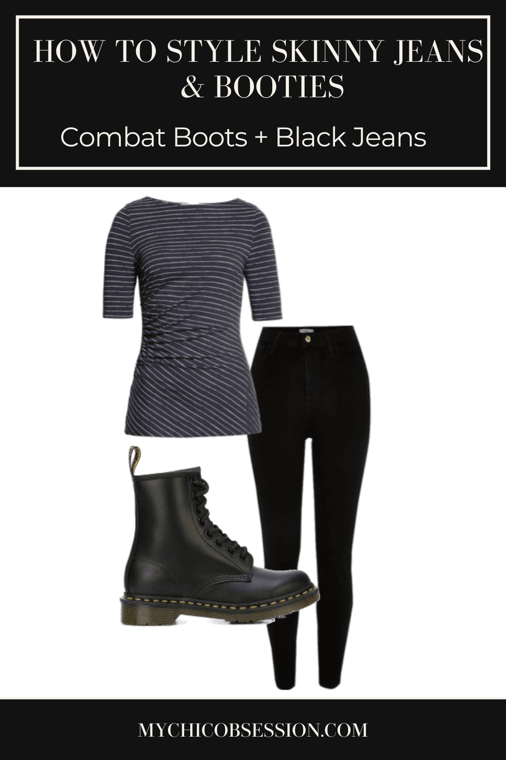 Black doc martens combat boots with black skinny jeans