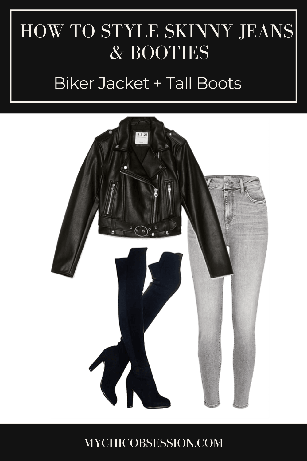 Biker jacket, grey skinny jeans and over the knee boots