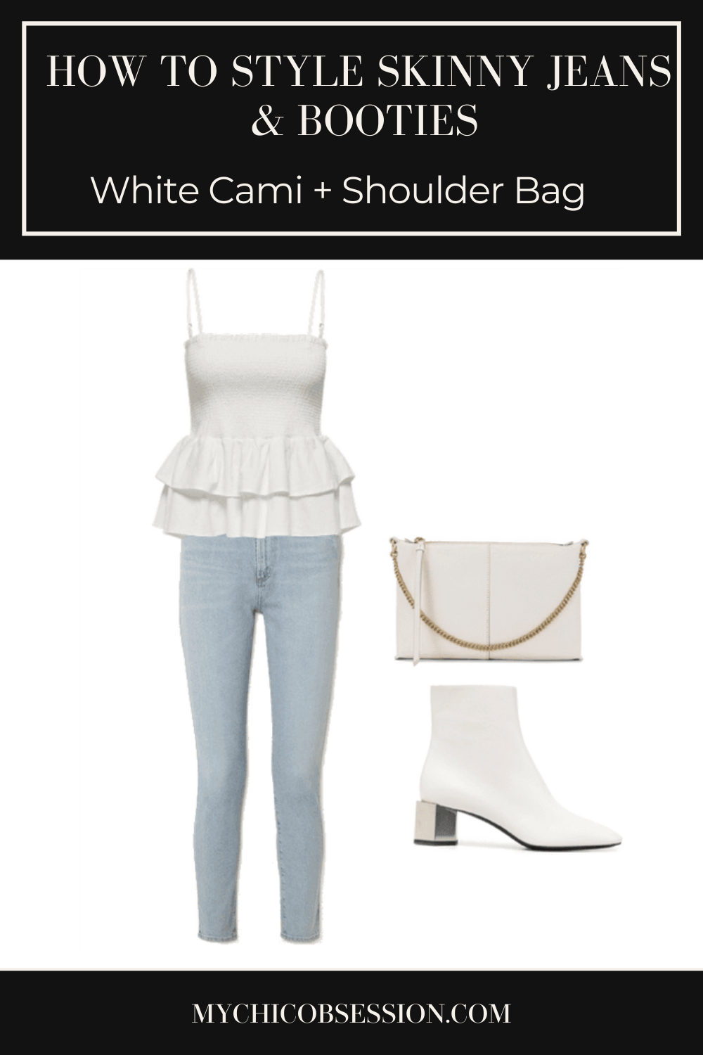 White ruffle peplum camisole top, white ankle boots and white shoulder bag
