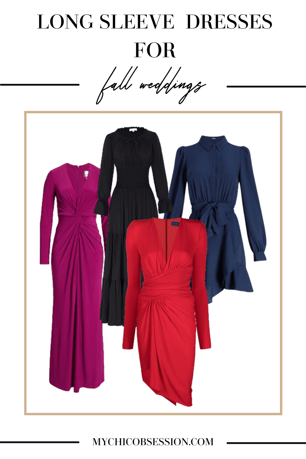 purple, red and blue long sleeve dresses for fall weddings