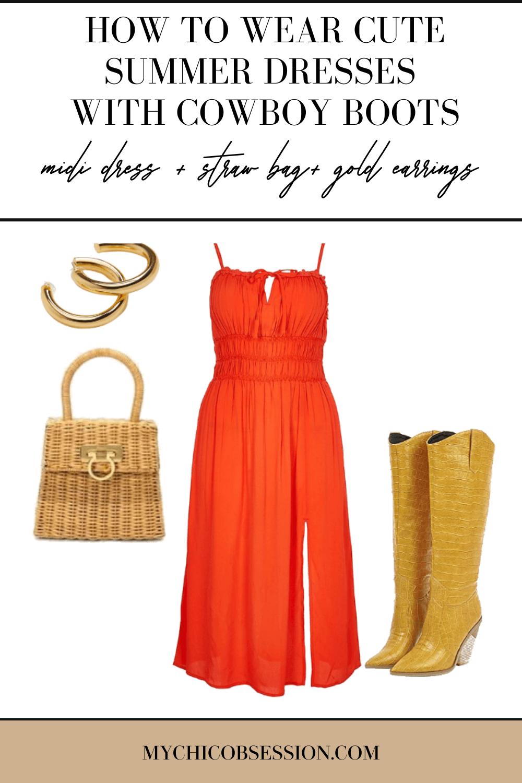 Orange midi dress, straw bag and gold hoop earrings
