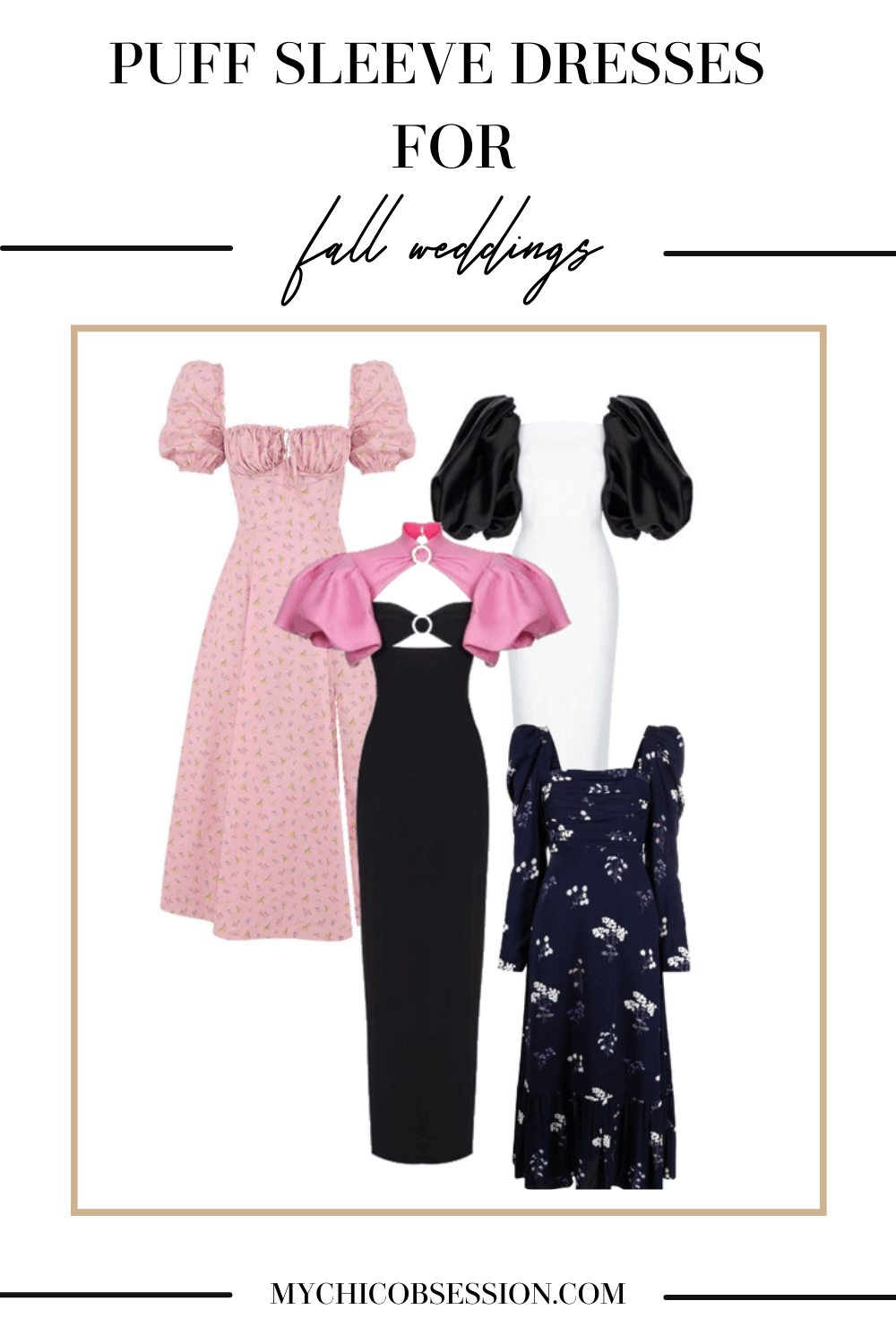 Puff sleeve wedding guest dresses for fall
