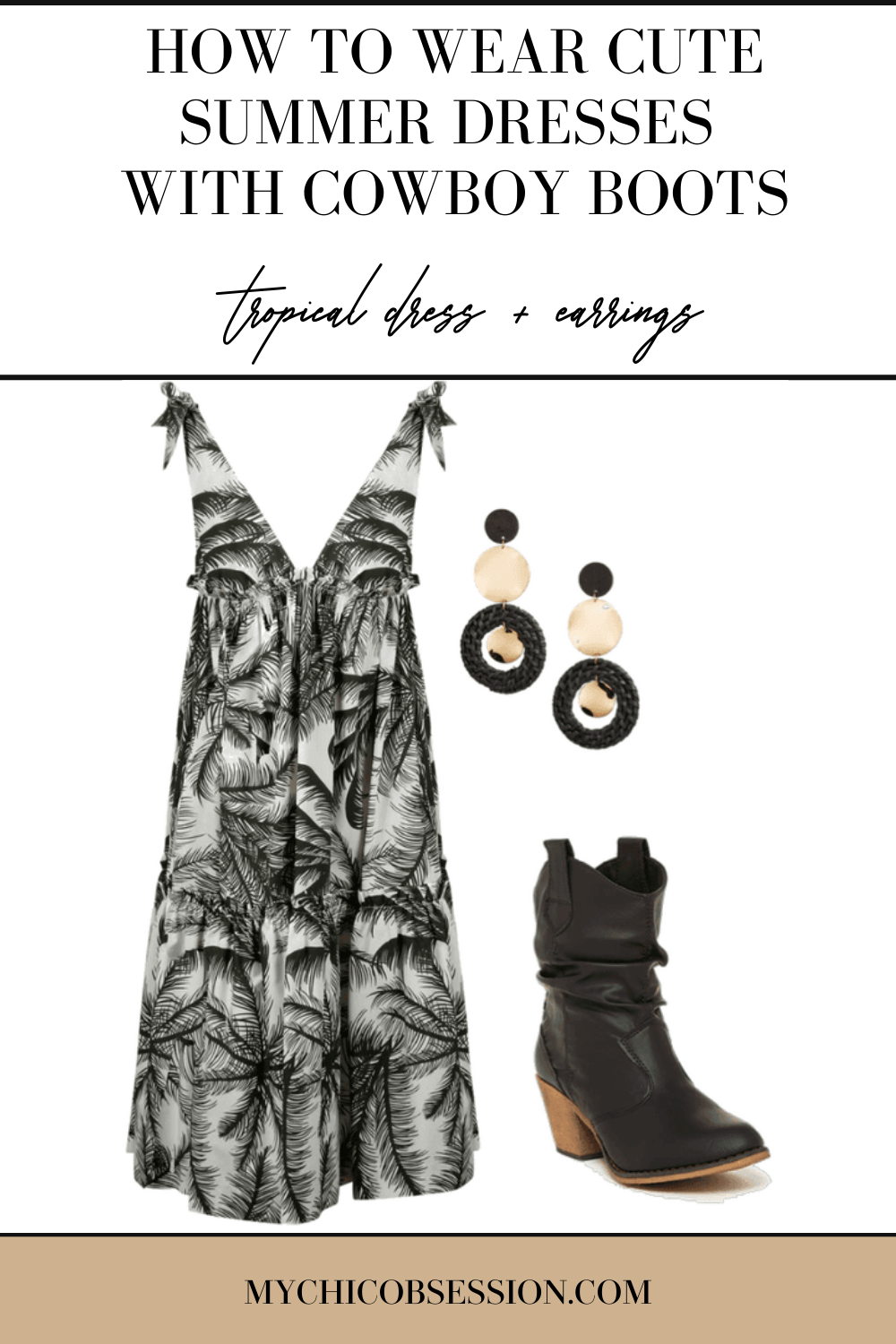 White and black palm print  v-neck dress, round stacked statement earrings.